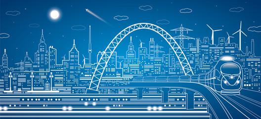 train on the bridge, light city, plane, infrastructure panorama
