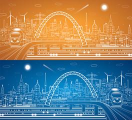 Train on the bridge, light city, infrastructure panorama