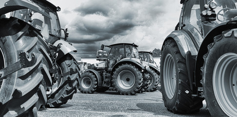 farming tractor line-ups, plows and machinery Wall mural