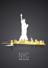 Golden New York City black background vector