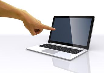 ノートパソコンと手