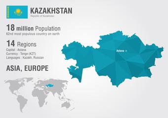 Wall Mural - Kazakhstan world map with a pixel diamond texture.