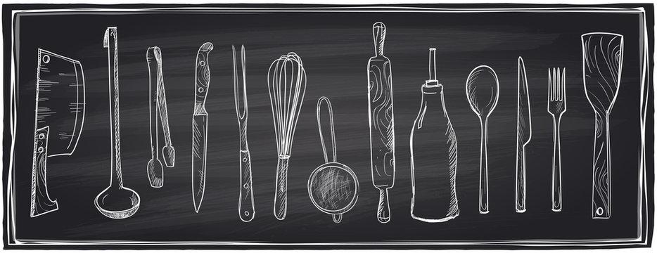 Hand drawn set of kitchen utensils on a chalkboard.