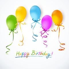 Bunte Luftballons mit Schleifen - Happy Birthday