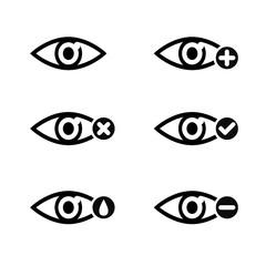 Eye sight icons set