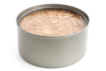 Open can of tuna in brine. Space for label.