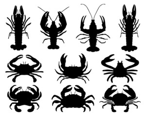 Black silhouettes of crabs, vector