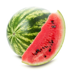 juicy watermelon with slice isolated on the white background