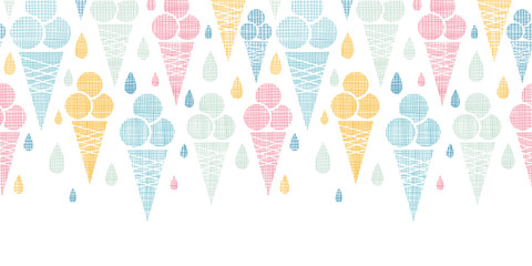 Ice cream cones textile colorful horizontal seamless pattern