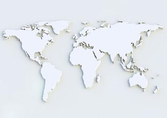 Fotorolgordijn Wereldkaart Weltkarte 3D - World map 3D