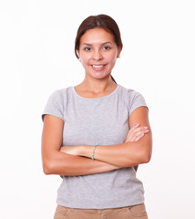 Attractive latin woman with crossed arms