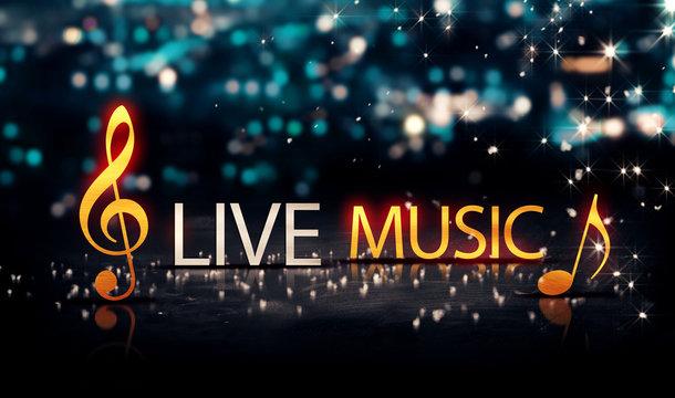 Live Music Gold Silver City Bokeh Star Shine Blue Background 3D