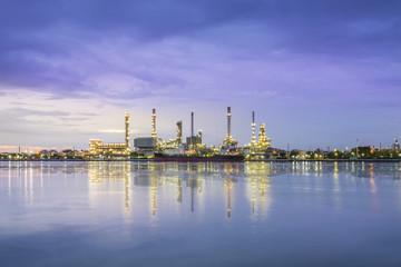 Panorama Oil refinery along the river at Dusk (Bangkok, Thailand