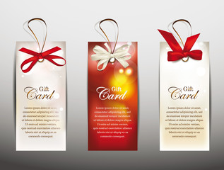 Set of gift cards with silk ribbons