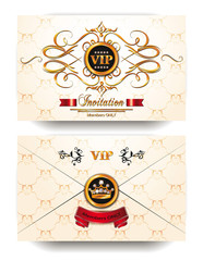 Elegant invitation VIP envelope with gold floral design elements
