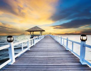 beautiful wood bridge piers and pavillian at sea beach