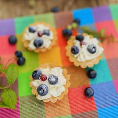 Fresh blueberries tarts