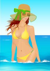 Jeune femme à la mer, en bikini et chapeau