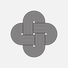Twisted lines, vector element, intertwined pattern