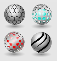 Silver ball business icon collection