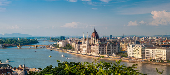 Poster Budapest Panorama view at the parliament with Danube river in Budapest