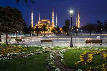 Sultanahmet Blue Mosque at night