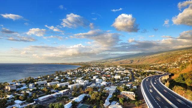 Panorama de la baie de St-Paul, La Réunion.