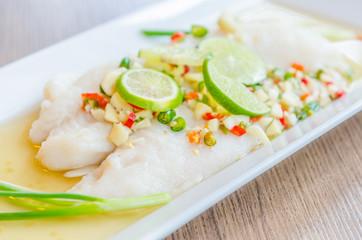 Steamed basa fish