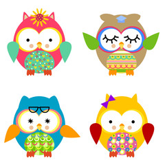 Four cute owls