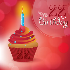 Happy 22nd Birthday message -Bokeh Vector -cupcake & candle
