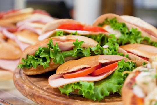 Various sandwiches on a shop counter