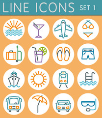 Travel line icons set. Vector web design elements
