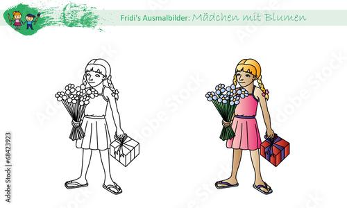 Ausmalbild Mädchen Mit Blumen Stockfotos Und Lizenzfreie Vektoren