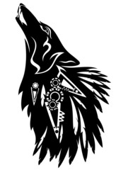 howling wolf tribal design