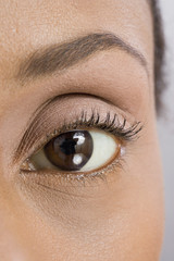 Close up of African American woman's eye