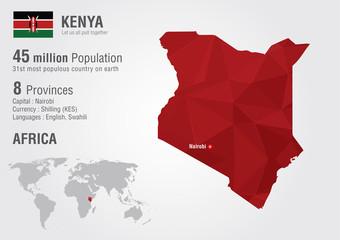 Kenya world map with a pixel diamond texture. Wall mural