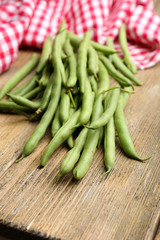 French beans on table close-up
