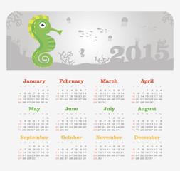 Calendar 2015 year with sea horse