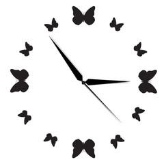Clock, butterfly, black