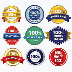 100% Money Back Guarantee Retro Style Badges.