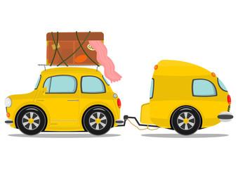 Funny yellow retro car with caravan. Vector