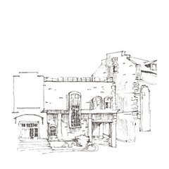 Hand sketch of an old building.