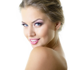 Beauty portrait of young woman with beautiful healthy face with