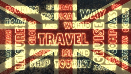 travel neon tags cloud on united kingdom national flag