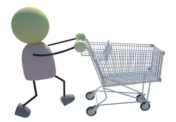 Shopping Cart 3d Character Carrying