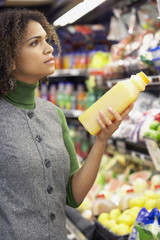 African woman in grocery store