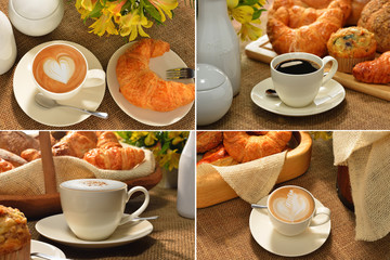 Collection of coffee cup and pastries