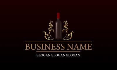 Logo vignoble - bouteille