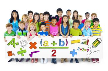 Diverse Children Holding Mathematical Symbols
