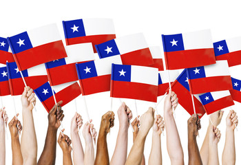 Hands Holding Flag of Chile